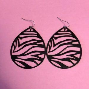 Zebra print drop earrings from Express
